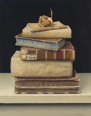 Oude boekjes met roosje © Aad Hofman