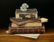 Boekenstilleven met hortensia © Aad Hofman
