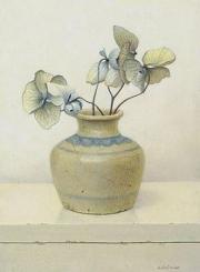 Chinees vaasje met hortensia © Aad Hofman